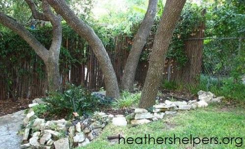 Rockwork around trees